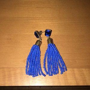 NWOT j crew blue tassel earrings